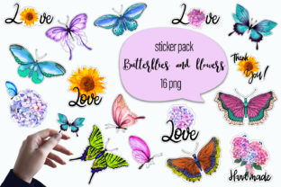 Print on Demand: Butterflies Watercolor - Sticker Pack Graphic Graphic Templates By ElenaZlataArt