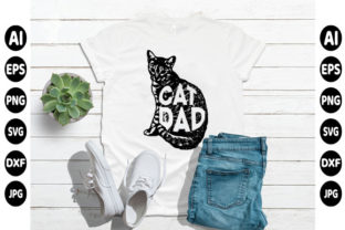 Print on Demand: Cat Dad Day T-shirt Design Graphic Print Templates By creative_design915