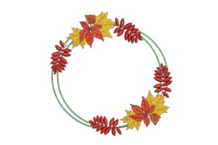 Print on Demand: Fall Wreath Autumn Embroidery Design By ArtEMByNatali