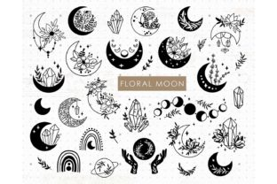 Floral Moon, Celestial Moon Graphic Illustrations By MySpaceGarden 1