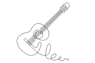 Guitar One Line Hobbies & Sports Embroidery Design By Canada Crafts Studio