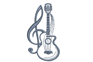 Guitar with Treble Clef Hobbies & Sports Embroidery Design By Canada Crafts Studio
