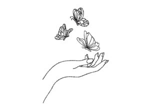 Hand with Butterfly Fashion & Beauty Embroidery Design By Canada Crafts Studio
