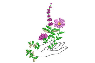Hand with Flowers Floral & Garden Embroidery Design By Canada Crafts Studio