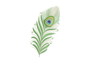 Print on Demand: Light Green Peacock Feather Boho Embroidery Design By EmbArt