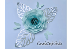 Paper Flower 47 + Butterfly and Leaf Graphic 3D Flowers By Canada Crafts Studio