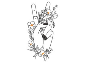 Peace Finger Sign Fashion & Beauty Embroidery Design By Canada Crafts Studio