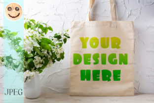 Print on Demand: Rustic Tote Bag Mockup with  Flowering Graphic Product Mockups By TasiPas