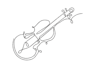 Violin One Line Hobbies & Sports Embroidery Design By Canada Crafts Studio