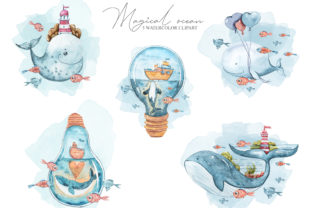 Print on Demand: Watercolor Nautical Clipart- 5 Png Files Graphic Illustrations By Tiana Geo