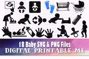 Print on Demand: Baby SVG Clip Art Silhouette Bottle Graphic Icons By DigitalPrintableMe