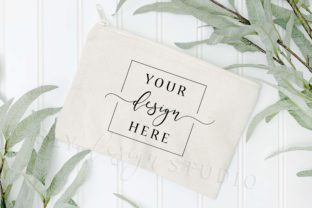 Canvas Zipper Pouch Makeup Bag Mockup Graphic Product Mockups By SlyDesignStudio