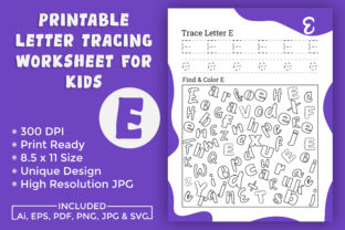 Print on Demand: Letter Tracing Worksheet for Kids E Graphic Teaching Materials By Creatohub