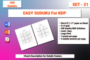 Print on Demand: Sudoku Puzzle 200 EASY 8.5x11 Set- 21 Graphic KDP Interiors By bengalcanvas