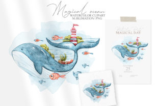 Print on Demand: Watercolor Cute Nautical Clipart Graphic Illustrations By Tiana Geo