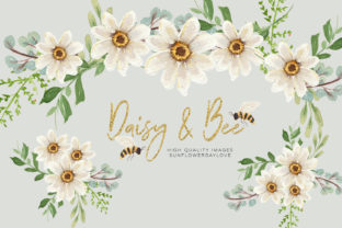 Print on Demand: Daisies & Bee Watercolor Clipart Graphic Illustrations By SunflowerLove