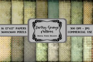 Print on Demand: Earthy Grunge Patterns Digital Paper Graphic Backgrounds By digitalpaperdelights