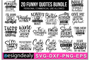 Print on Demand: Funny Quotes Bundle Graphic Print Templates By Designdealy
