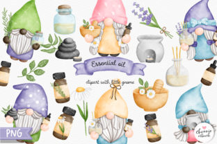 Print on Demand: Gnome Essential Oil Clipart, Gnomes Spa Graphic Illustrations By Chonnieartwork 1