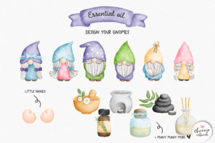 Print on Demand: Gnome Essential Oil Clipart, Gnomes Spa Graphic Illustrations By Chonnieartwork 2