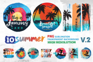 Print on Demand: Summer and Surf Sublimation Bundle Graphic Illustrations By nesdigiart