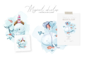 Print on Demand: Whale Nursery Clipart. Watercolor Whales Graphic Illustrations By Tiana Geo