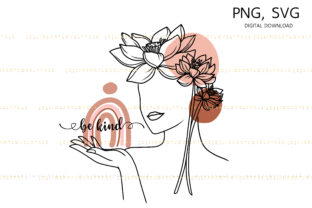 Boho Woman Be Kind Line Art Graphic Illustrations By Lineartlovelytale