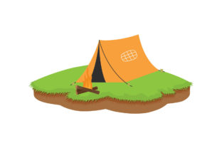 Camping Place with Tent and Bonfire Graphic Illustrations By zia studio
