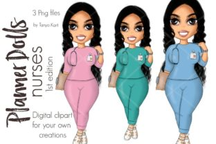 Nurse Brunette Planner Doll Graphic Icons By Tanya Kart
