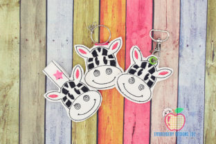 Zebra Cute Face Key Fob Pattern Wild Animals Embroidery Design By embroiderydesigns101