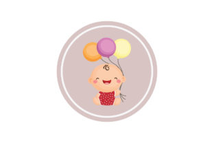 Baby Cartoon on Circle Background Graphic Illustrations By zia studio