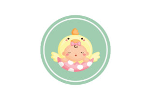 Baby Label on Round Background Graphic Illustrations By zia studio