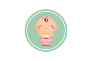 Baby Shower Label with Round Background Graphic Illustrations By zia studio