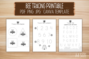 Print on Demand: Bee Tracing Printable Canva Template Graphic PreK By craftedwithbliss