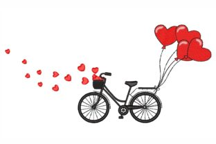 Bicycle with Balloons Valentine's Day Embroidery Design By LizaEmbroidery