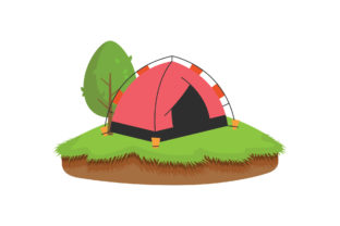 Camping Area with Tent Graphic Illustrations By zia studio