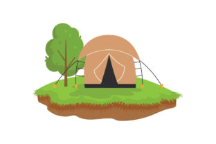 Camping Atmosphere with Tents Graphic Illustrations By zia studio