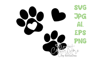 Dog Paws with Heart. SVG PNG JPG Print Graphic Crafts By CosyArtStore by RivusDea