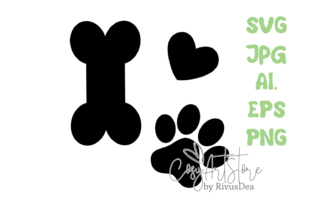 Dog Paws with Heart and Bone Bundle. SVG Graphic Crafts By CosyArtStore by RivusDea