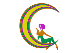 Print on Demand: Fairy in a Multicolored Moon Fairy Tales Embroidery Design By embroidery dp