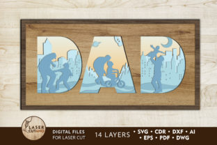 Print on Demand: Fathers Day Multilayer Laser Cut Files Graphic 3D SVG By LaserCutano