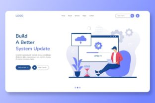 Print on Demand: Free System Update Landing Page Graphic Landing Page Templates By themesfusion