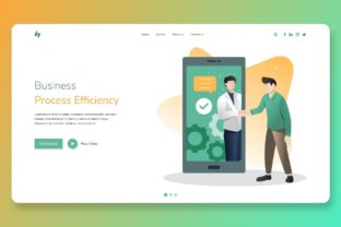 Print on Demand: Homepage UI Template Business Efficiency Graphic Landing Page Templates By themesfusion