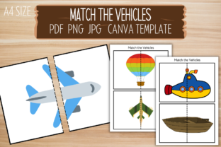 Print on Demand: Match the Vehicles Canva Template Graphic PreK By craftedwithbliss