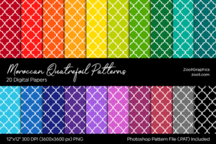 Moroccan Quatrefoil Digital Papers Graphic Patterns By ZoollGraphics