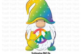 Print on Demand: Peace Love Gnome Pride Month Sublimation Graphic Illustrations By TripleBcraft