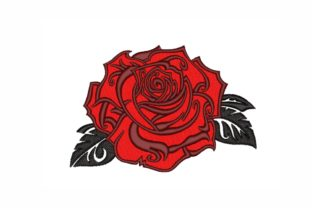 Rose Single Flowers & Plants Embroidery Design By LizaEmbroidery