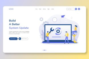 Print on Demand: System Update Improve Change Home Page Graphic Landing Page Templates By themesfusion