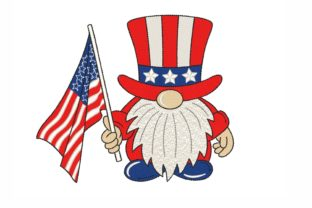 American Gnome Independence Day Embroidery Design By NinoEmbroidery