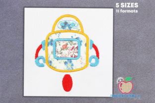 Applique Design of a Robot Robots & Space Embroidery Design By embroiderydesigns101